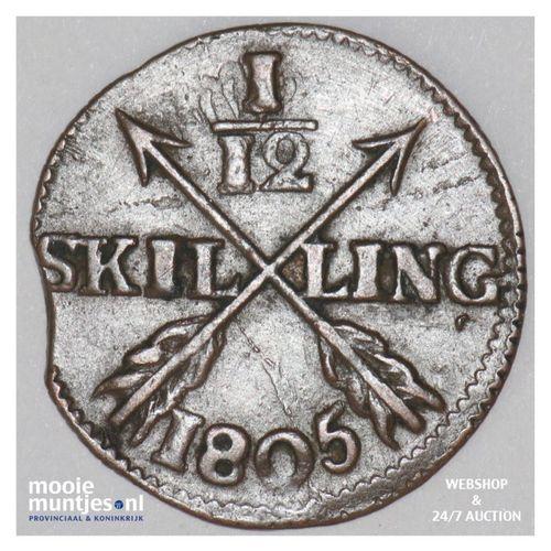 1/12 skilling - Sweden 1805 (KM 563) (kant A)