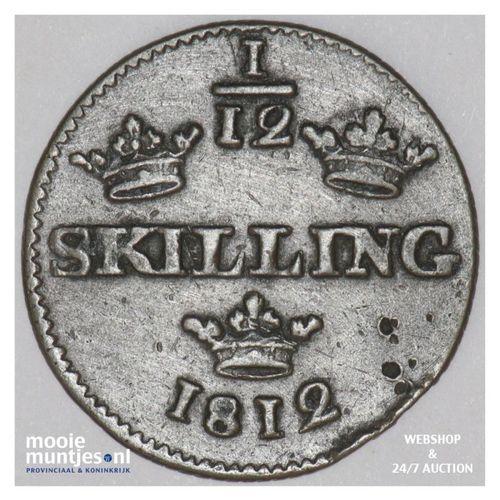 1/12 skilling - Sweden 1812 (KM 584) (kant A)