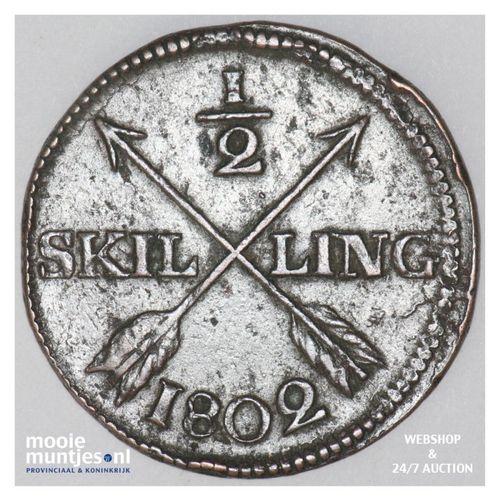 1/2 skilling - Sweden 1802 (KM 565) (kant A)