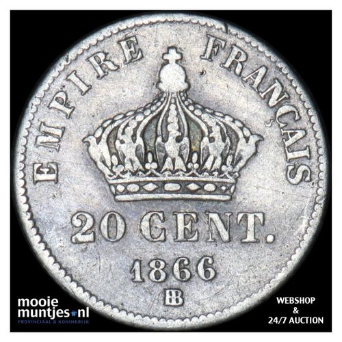 20 centimes - France 1866 BB (Strasbourg) (KM 805.2) (kant A)