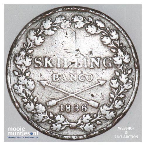 skilling - Sweden 1836 (KM 642) (kant A)