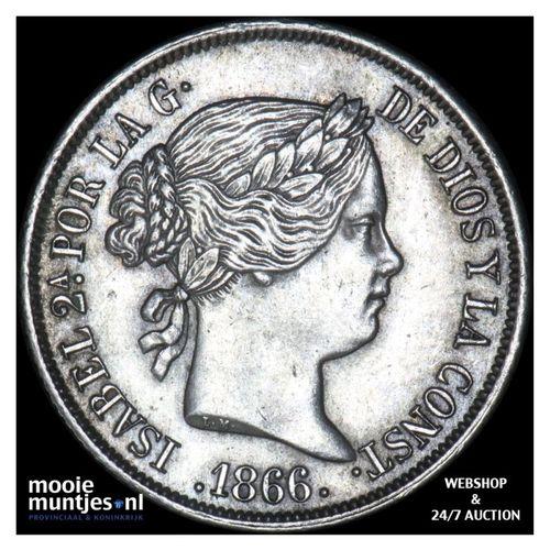 40 centimos - second decimal coinage - Spain 1866 (KM 628.2) (kant A)