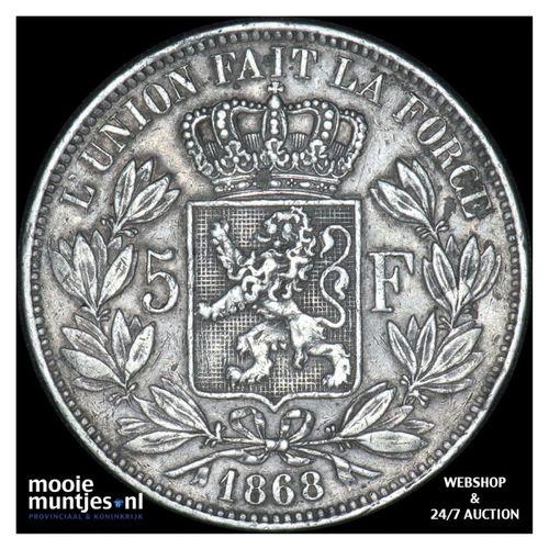 5 francs (5 frank) - Belgium 1868 (KM 24) (kant A)