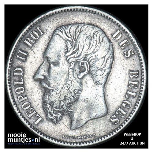 5 francs (5 frank) - Belgium 1868 (KM 24) (kant B)