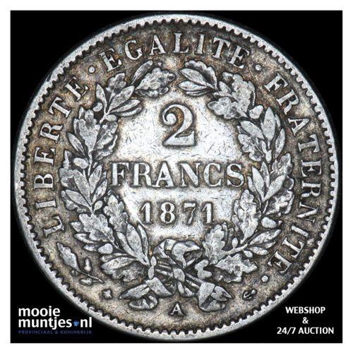 2 francs - France 1871 A (Paris) (KM 817.1) (kant A)