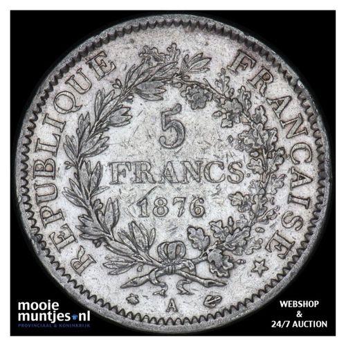 5 francs - France 1876 A (Paris) (KM 820.1) (kant A)