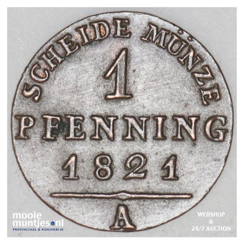 pfennig - German States/Prussia 1821 A (KM 405) (kant A)
