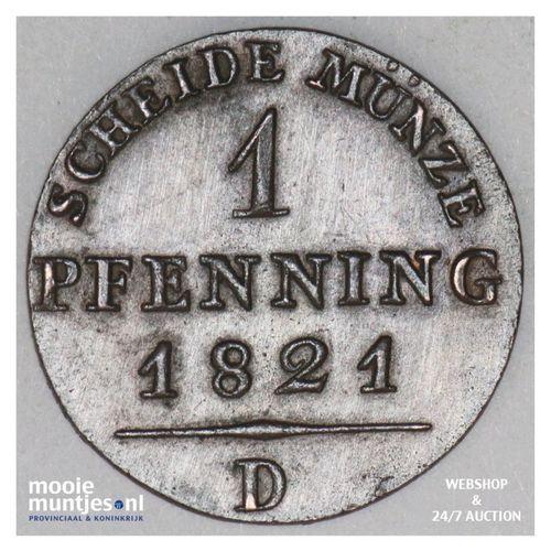 pfennig - German States/Prussia 1821 D (KM 405) (kant A)