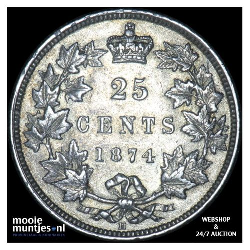 25 cents - Canada 1874 (KM 5) (kant A)