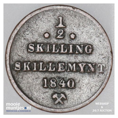 1/2 skilling - Norway 1840 (KM 305.1) (kant A)