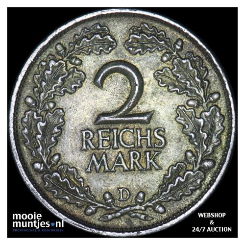 2 reichsmark - Germany-Weimar Republic 1925 D (KM 45) (kant B)