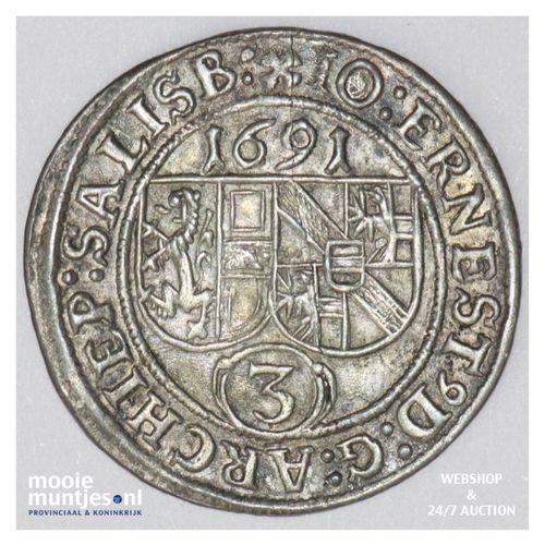 3 kreuzer - Austrian States/Salzburg 1691 (KM 249) (kant A)