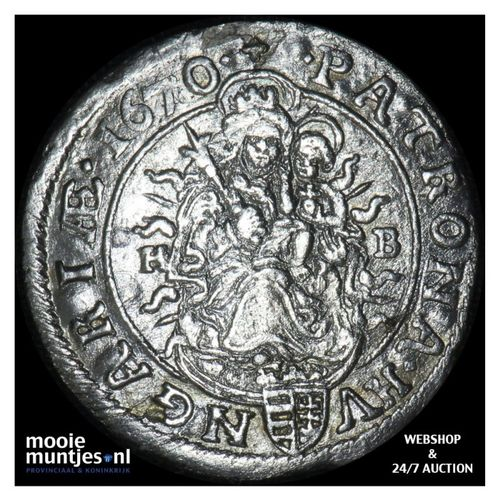 6 krajczar - Hungary 1670 (KM 164) (kant A)