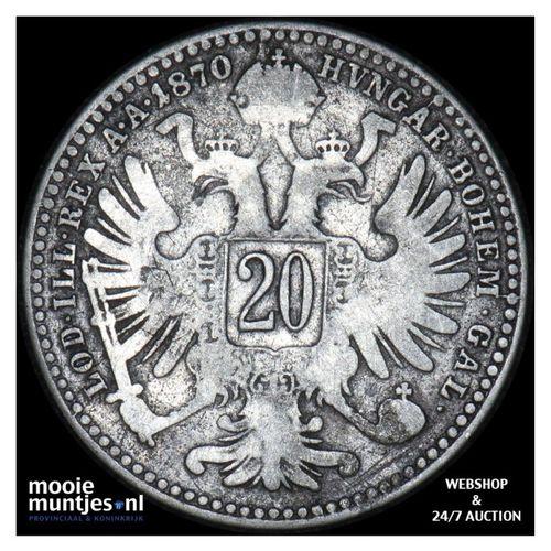 20 kreuzer - Austria 1870 (KM 2212) (kant A)