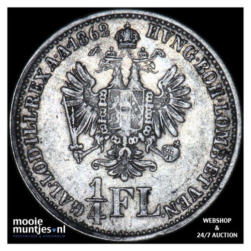 1/4 florin - Austria 1862 A (KM 2214) (kant A)