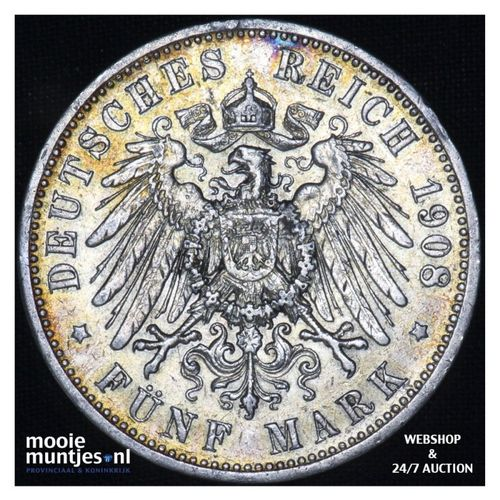 5 mark - German States/Prussia 1908 (KM 523) (kant A)