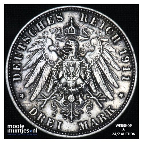 3 mark - German States/Bavaria 1911 (KM 996) (kant A)
