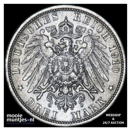 3 mark - reform coinage - German States/Baden 1910 (KM 280) (kant A)