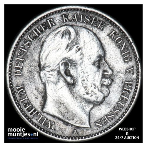2 mark - (reform coinage) - German States/Prussia 1876 A (KM 506) (kant B)