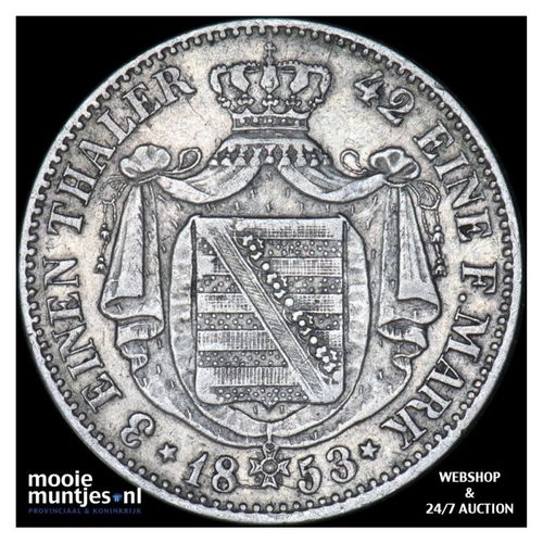 1/3 thaler (1/2 gulden) - German States/Saxony-Albertine 1853 (KM 1177) (kant A)