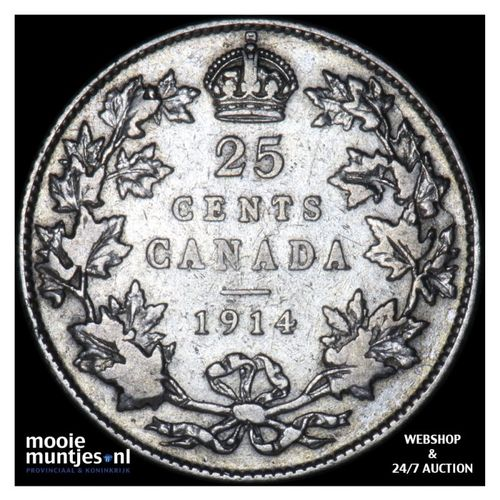 25 cents - Canada 1914 (KM 24) (kant A)