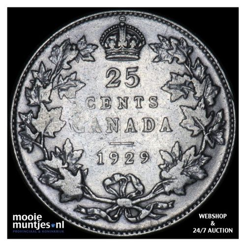 25 cents - Canada 1929 (KM 24a) (kant A)