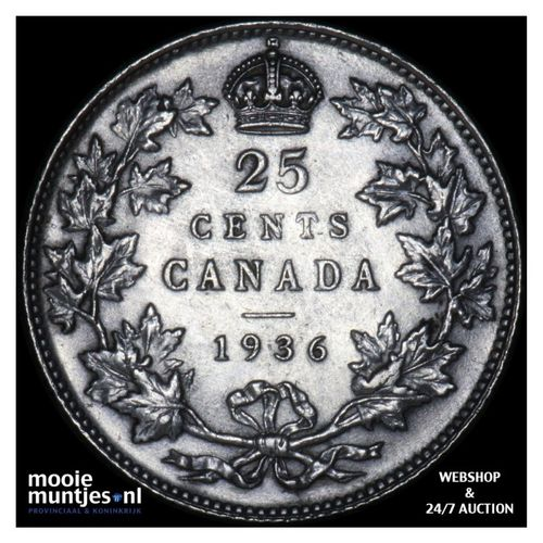 25 cents - Canada 1936 (KM 24a) (kant A)