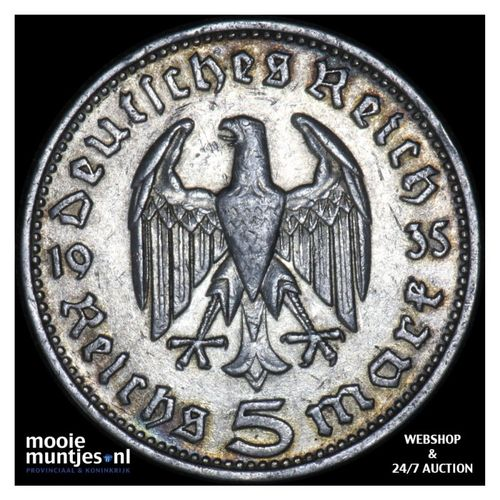 5 reichsmark - Germany-Third Reich 1935 D (KM 86) (kant A)