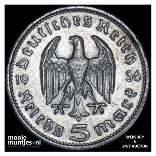 5 reichsmark - Germany-Third Reich 1936 G (KM 86) (kant A)