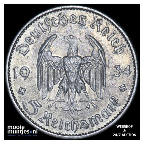 5 reichsmark - Germany-Third Reich 1934 A (KM 82) (kant A)