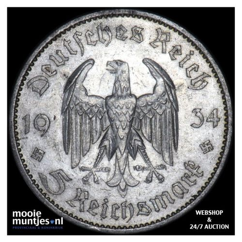 5 reichsmark - Germany-Third Reich 1934 A (KM 83) (kant A)