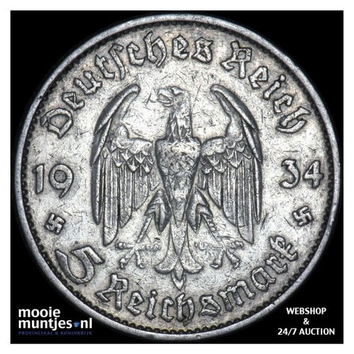 5 reichsmark - Germany-Third Reich 1934 D (KM 83) (kant A)