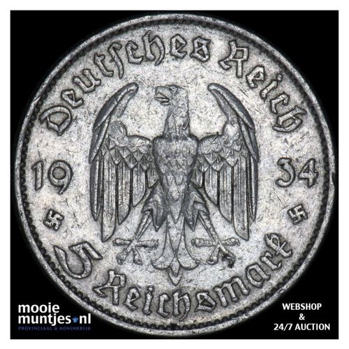 5 reichsmark - Germany-Third Reich 1934 F (KM 83) (kant A)
