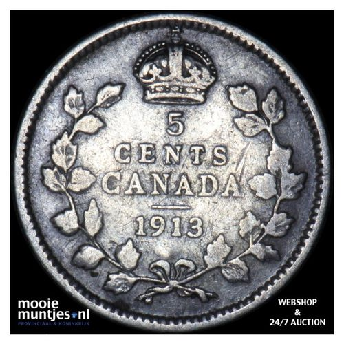 5 cents - Canada 1913 (KM 22) (kant A)