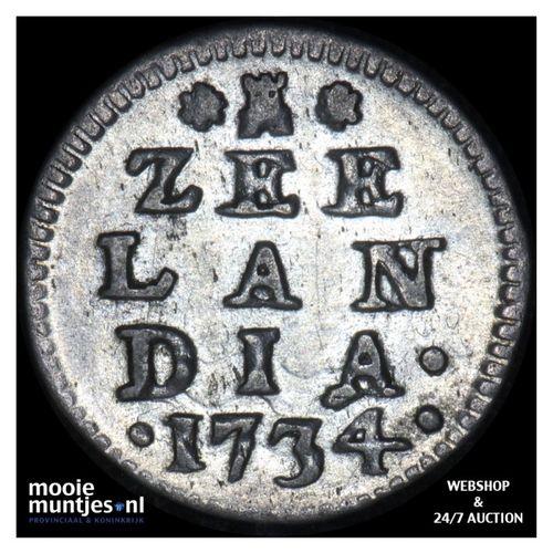 Zeeland - Dubbele wapenstuiver - 1734 (kant A)