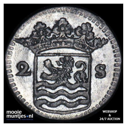 Zeeland - Dubbele wapenstuiver - 1734 (kant B)