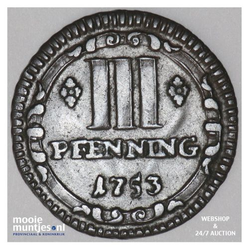 3 pfenning - (cathedral chapter) - German States/Munster 1753 (KM 430) (kant A)