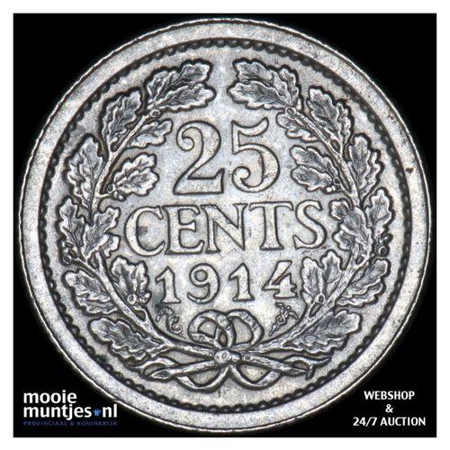 25 cent - Wilhelmina - 1914 (kant A)