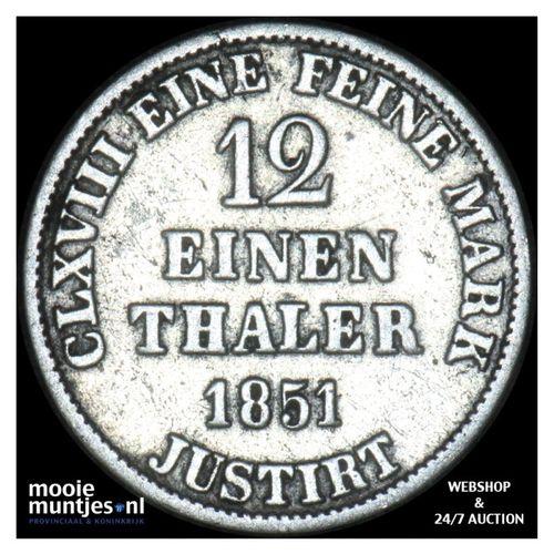 1/12 thaler (3 mariengroschen) - German States/Hannover 1851 (KM 206) (kant A)