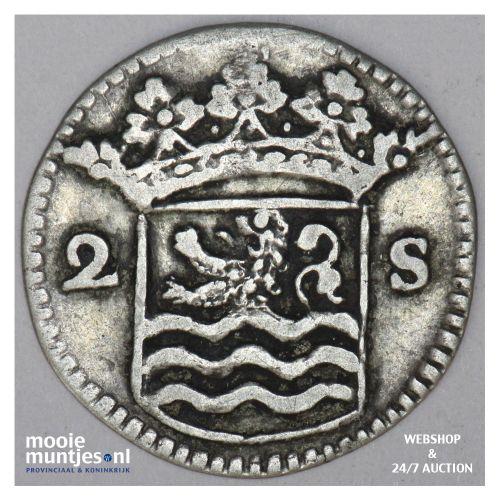 Zeeland - Dubbele wapenstuiver - 1733 (kant B)