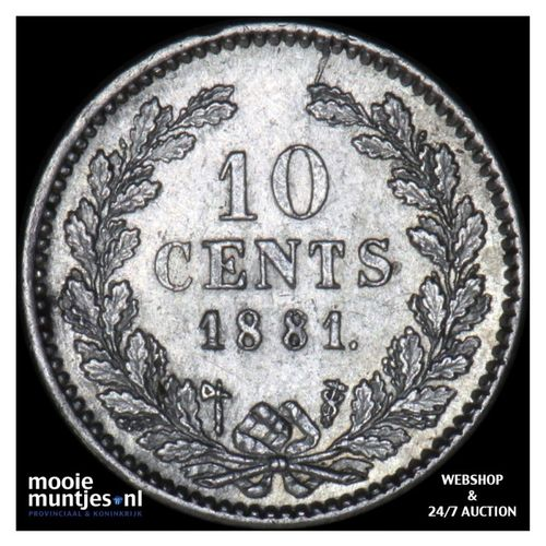 10 cent - Willem III - 1881 (kant A)