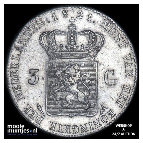 3 gulden - Willem I - 1821 Utrecht (kant A)