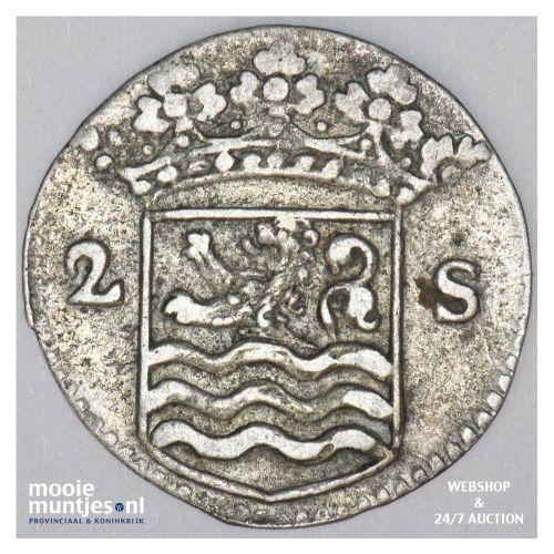 Zeeland - Dubbele wapenstuiver - 1726 (kant B)