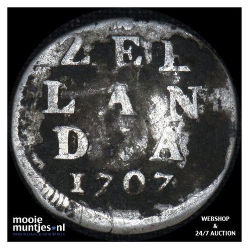 Zeeland - Dubbele wapenstuiver - 1707 (kant A)