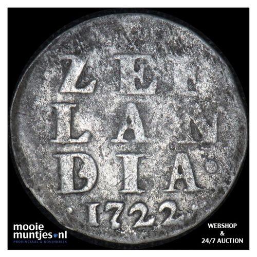 Zeeland - Dubbele wapenstuiver - 1722 (kant A)
