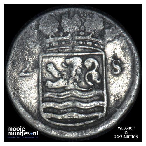 Zeeland - Dubbele wapenstuiver - 1722 (kant B)