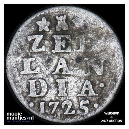 Zeeland - Dubbele wapenstuiver - 1725 (kant A)