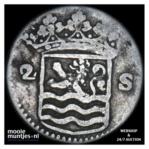 Zeeland - Dubbele wapenstuiver - 1725 (kant B)