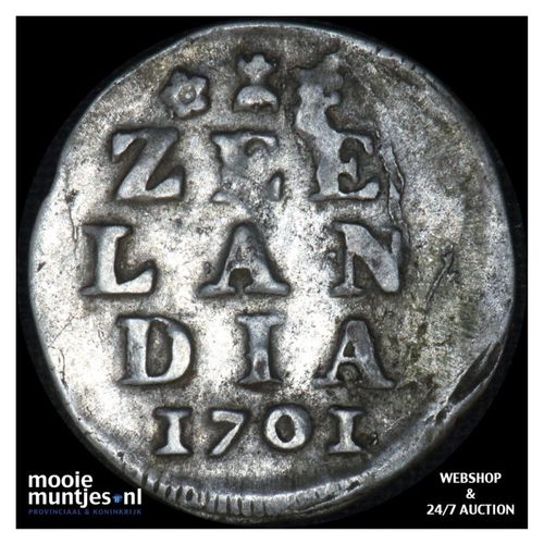 Zeeland - Dubbele wapenstuiver - 1701 (kant A)