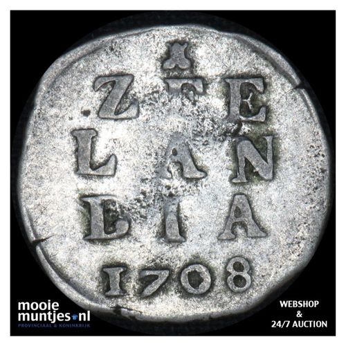 Zeeland - Dubbele wapenstuiver - 1708 (kant A)